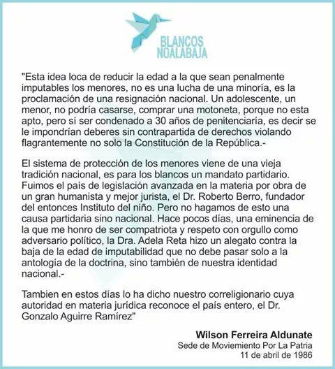 Palabras de Wilson Ferreira. Fuente @BlancosNoBajan