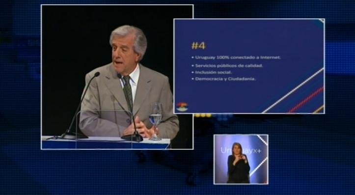 Tabaré Vázquez habla sobre innovación en un tercer gobierno del FA. Foto: frenteamplio.tv