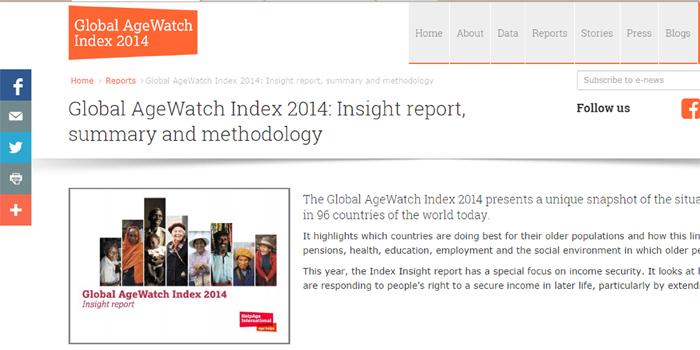 Página de la Global AgeWatch 2014