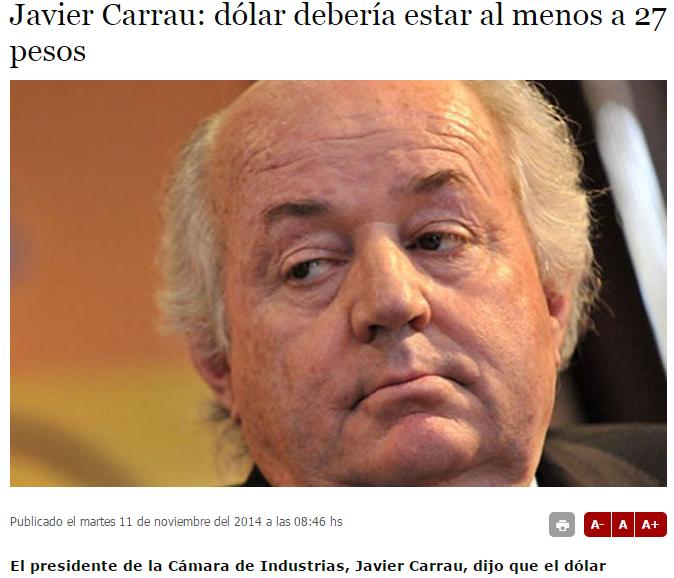 Presidente de la Cámara de Industrias, Javier Carrau. Foto: El Espectador.