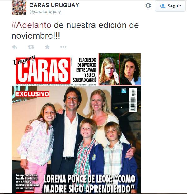 Portada de la Revista Caras Uruguay. Foto: Twitter Revista Caras.