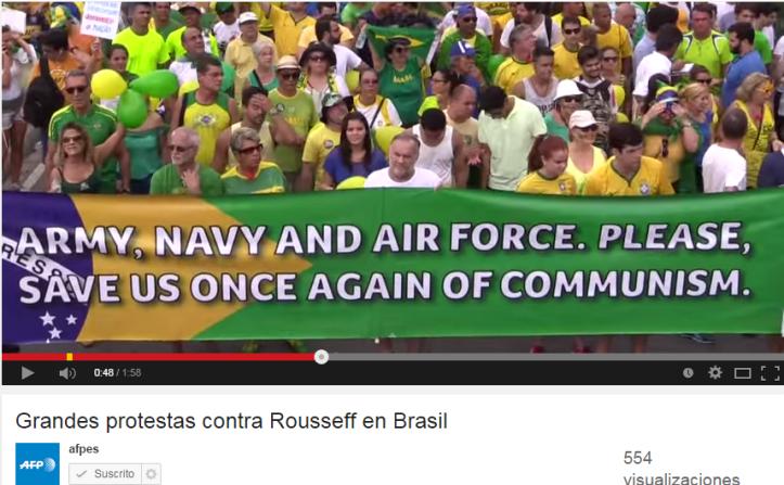 Manifestantes brasileños piden intervención militar en contra del comunismo. Foto: YouTube de agencia AFP