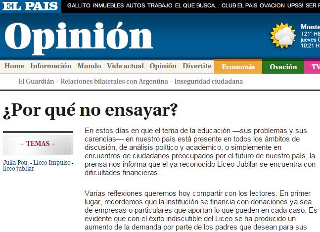 Columna en El País. Foto web El País.