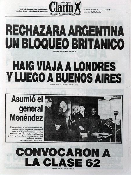 Portada del diario argentino Clarín del 8 de abril de 1982.
