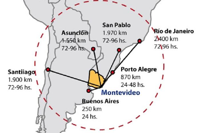 Distancias entre Uruguay y las principales ciudades de la región. Fuente: LQB