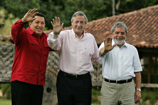 Presidentes Chávez, Kirchner y Lula Da Silva.