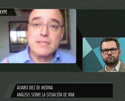 Álvaro Diez de Medina con Leandro Gómez, de El Observador. Foto: El Observador TV