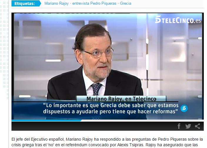Mariano Rajoy en Informativos Telecinco. Foto: web de Telecinco, de Mediaset.