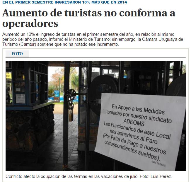 Turismo desconforme con aumento de turistas del 10%.