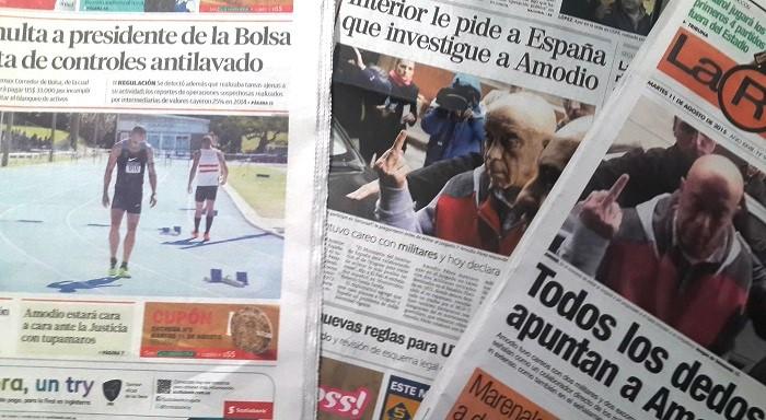 Portadas de El País, El Observador y La República del 11 de agosto de 2015.