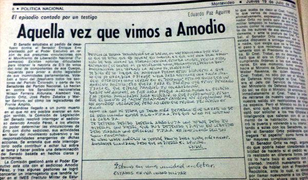 """""""Aquella vez que vimos a Amodio"""", del senador colorado Paz Aguirre, publicado por el semanario Opinar, de Enrique Tarigo."""