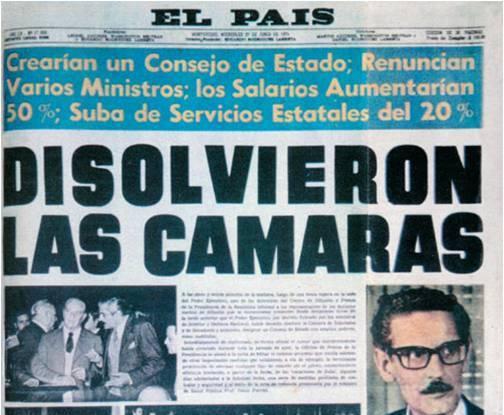 Portada de El País del 27 de junio de 1973, día de la disolución de las cámaras. Foto: espacioycultura.blogspot.com