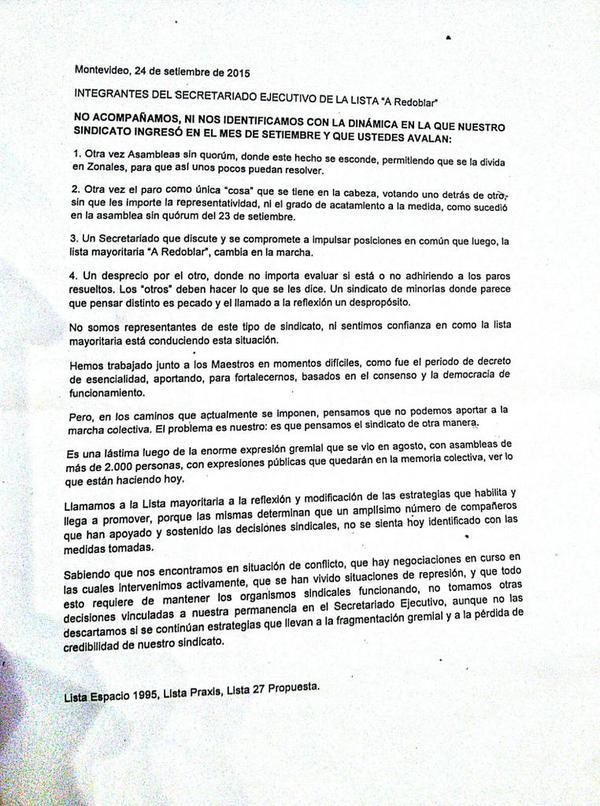 Declaración de listas Espacio 1995, Lista Praxis y Lista 27 Propuestas.
