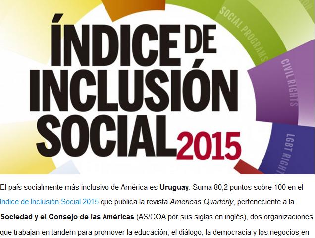 Uruguay es el país más inclusivo de todo el continente americano. Foto: InfoBae.
