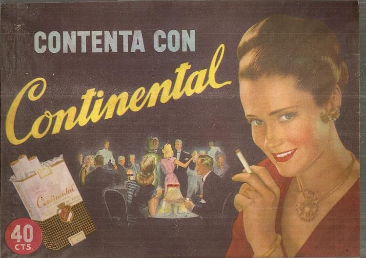 Publicidad de cigarrillos Continental, de la década de los '70. Foto: Mercadolibre.