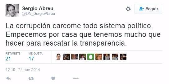 Twitter del senador blanco Sergio Abreu.