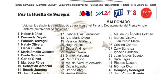 Lista conjunta en Maldonado. Fuente: web de la Lista 711.