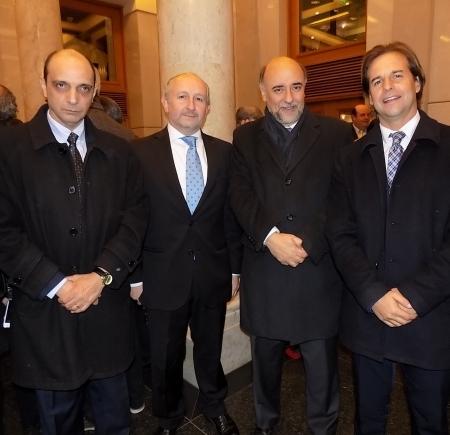 Daniel Radío, Pablo da Silveira, Pablo Mieres y Luis Lacalle Pou. Foto: El País.